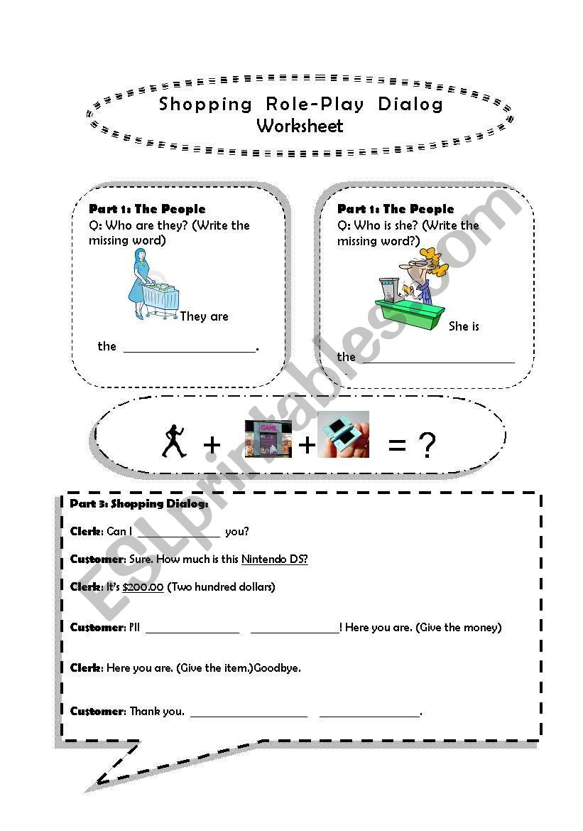 Shopping Role Play Dialog worksheet