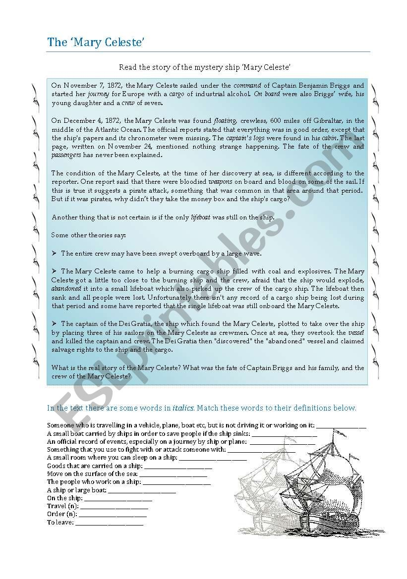 the Mystery of the Mary Celeste - ESL worksheet by perma
