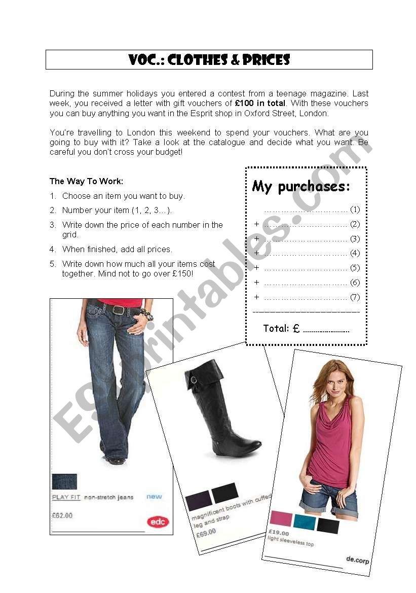 Clothes & shopping behaviour worksheet