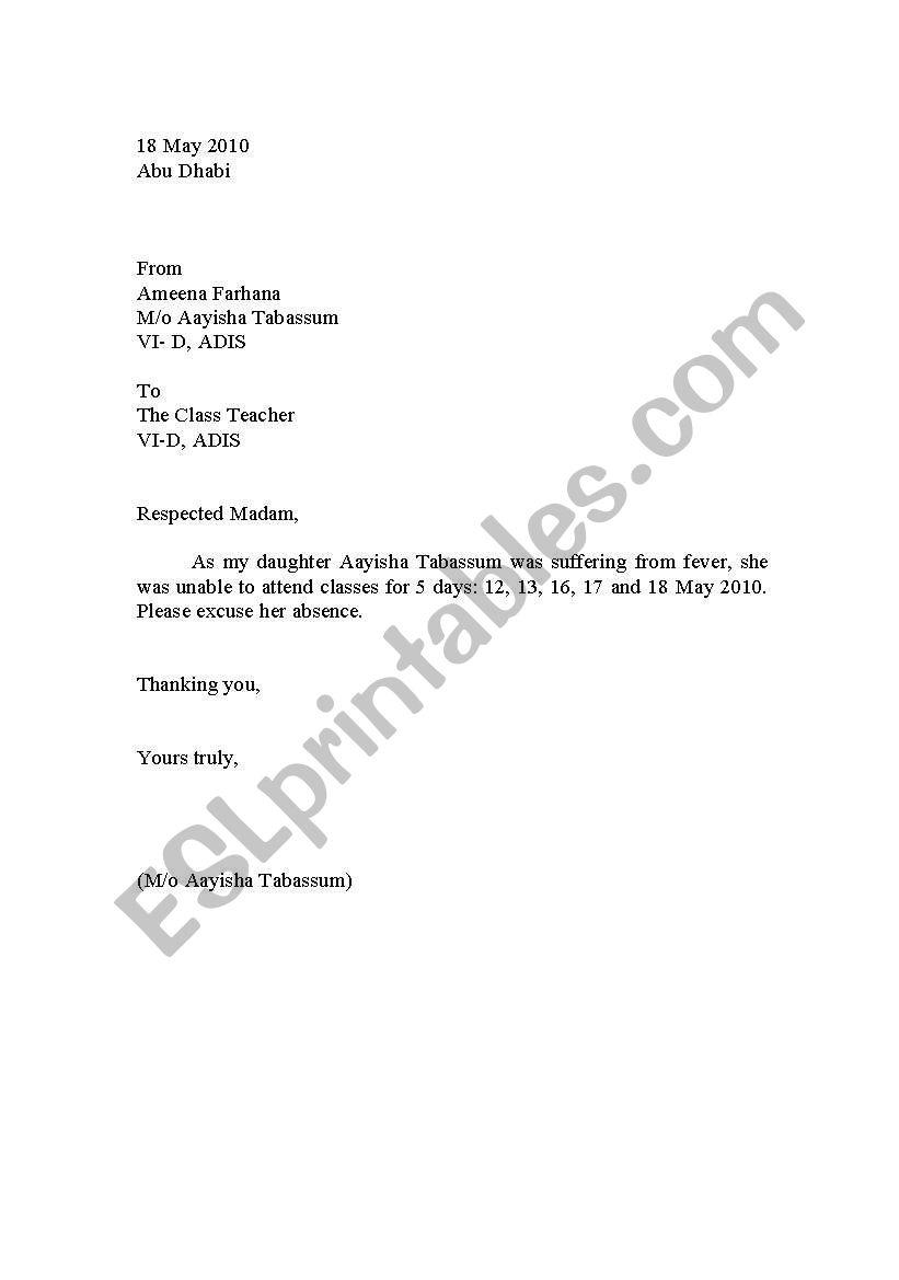 English worksheets: School Leave Letter Sample
