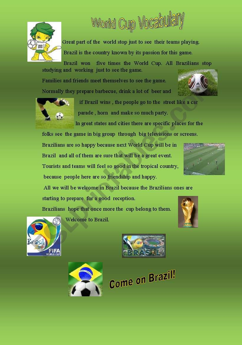 World Cup -Vocabulary worksheet