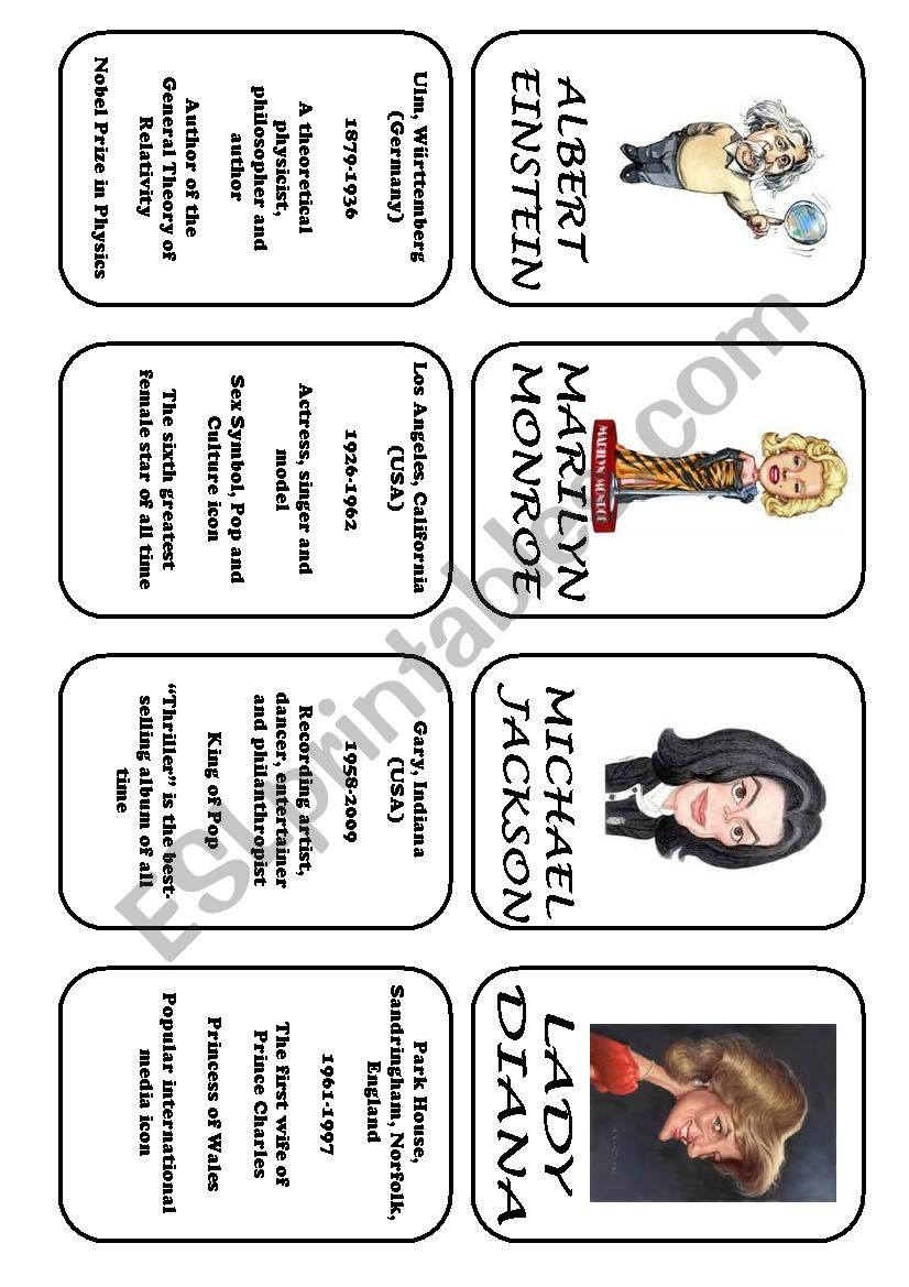 Famous people speaking cards (was,were) part 1