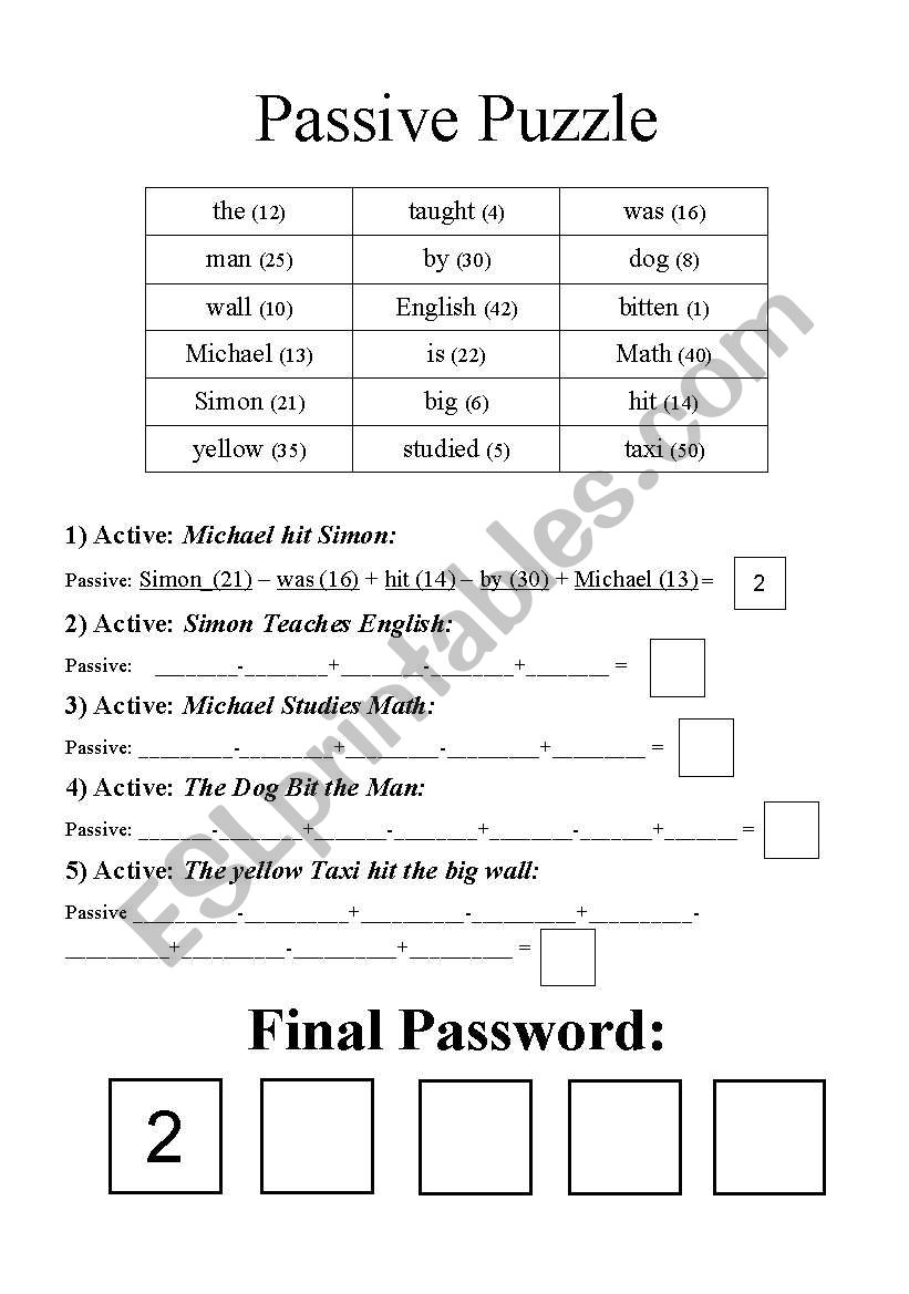 English worksheets: Passive Puzzle - Math Based Password Finder