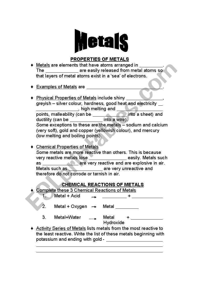 Metals Esl Worksheet By Eshy