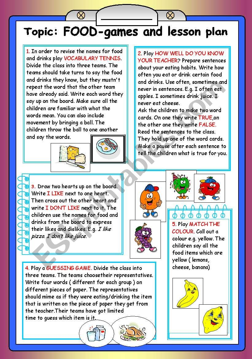 food-lesson plan and games worksheet