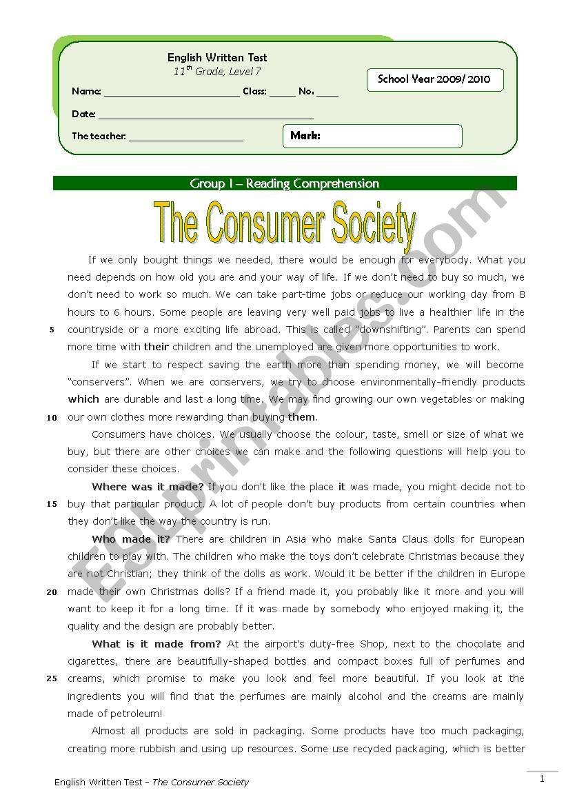 The Consumer Society (11th grade) + correction