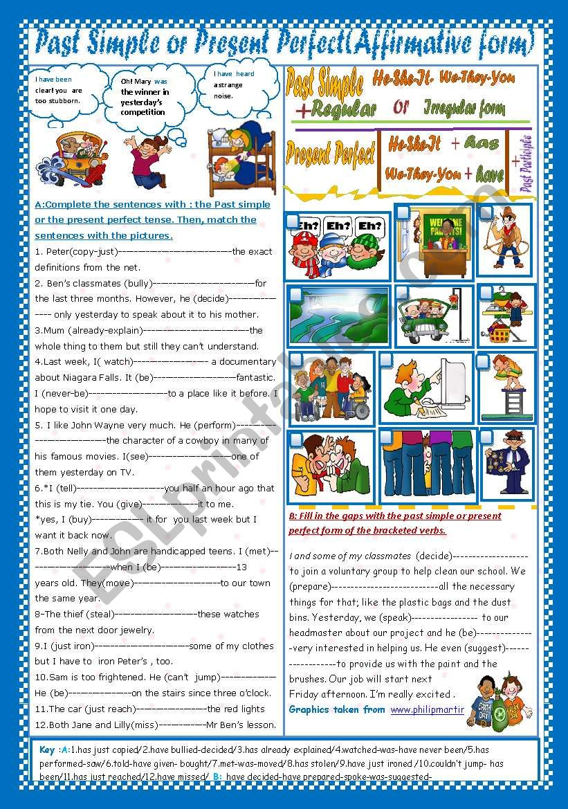 Past Simple or Present Perfect(Affirmative form)(+ Key)