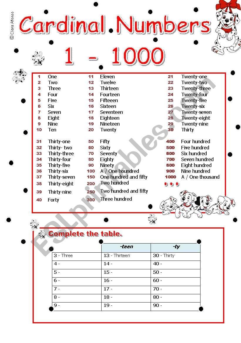 cardinal numbers 1 - 1000 worksheet