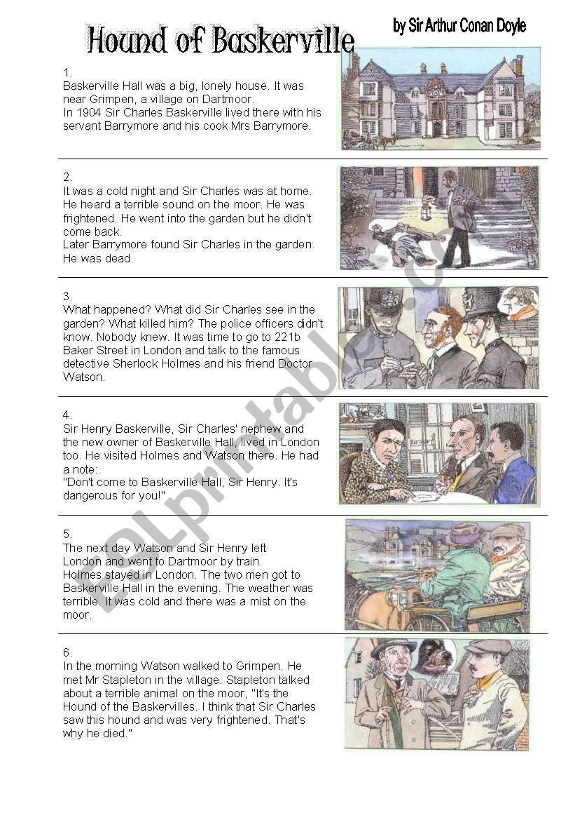 Hound of the Baskervilles - 11 pages 7 pgs excercises