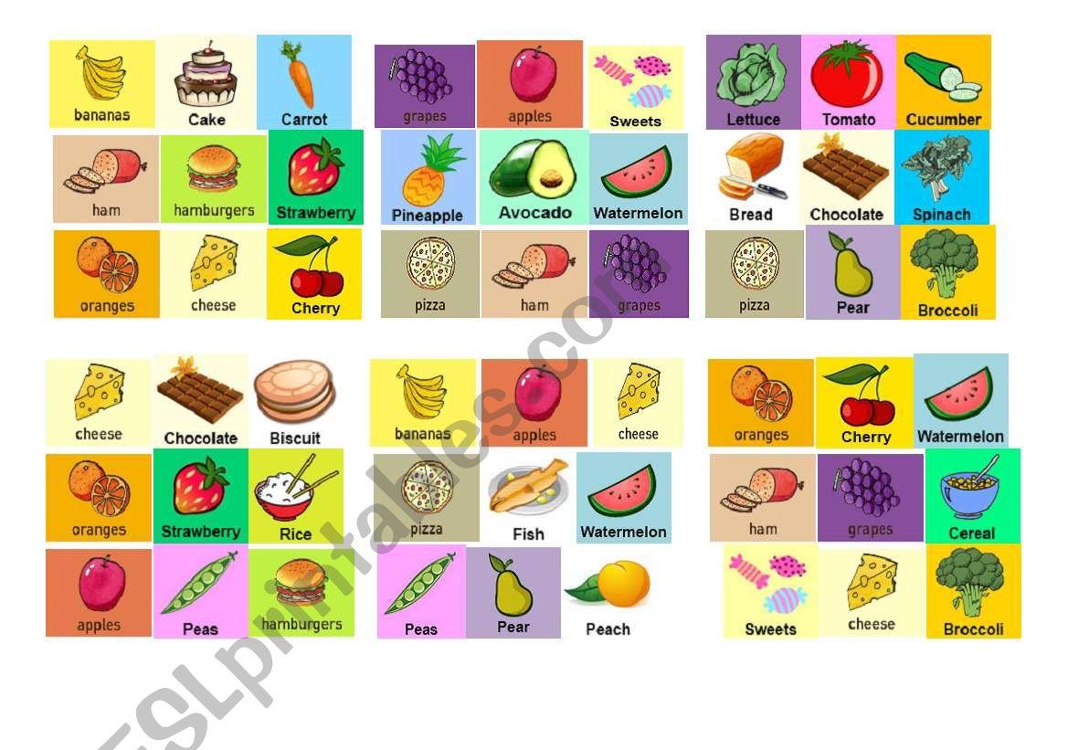 Food Bingo 2!! worksheet