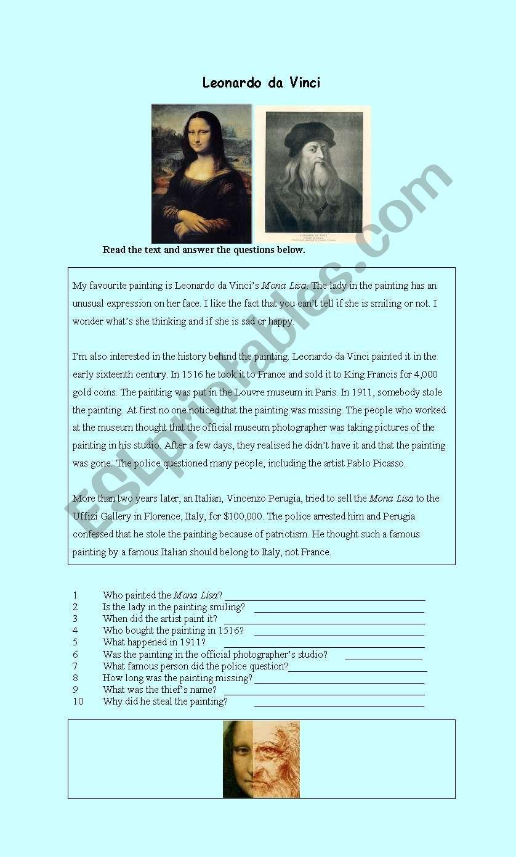 Leonardo da Vinci´s Mona Lisa worksheet