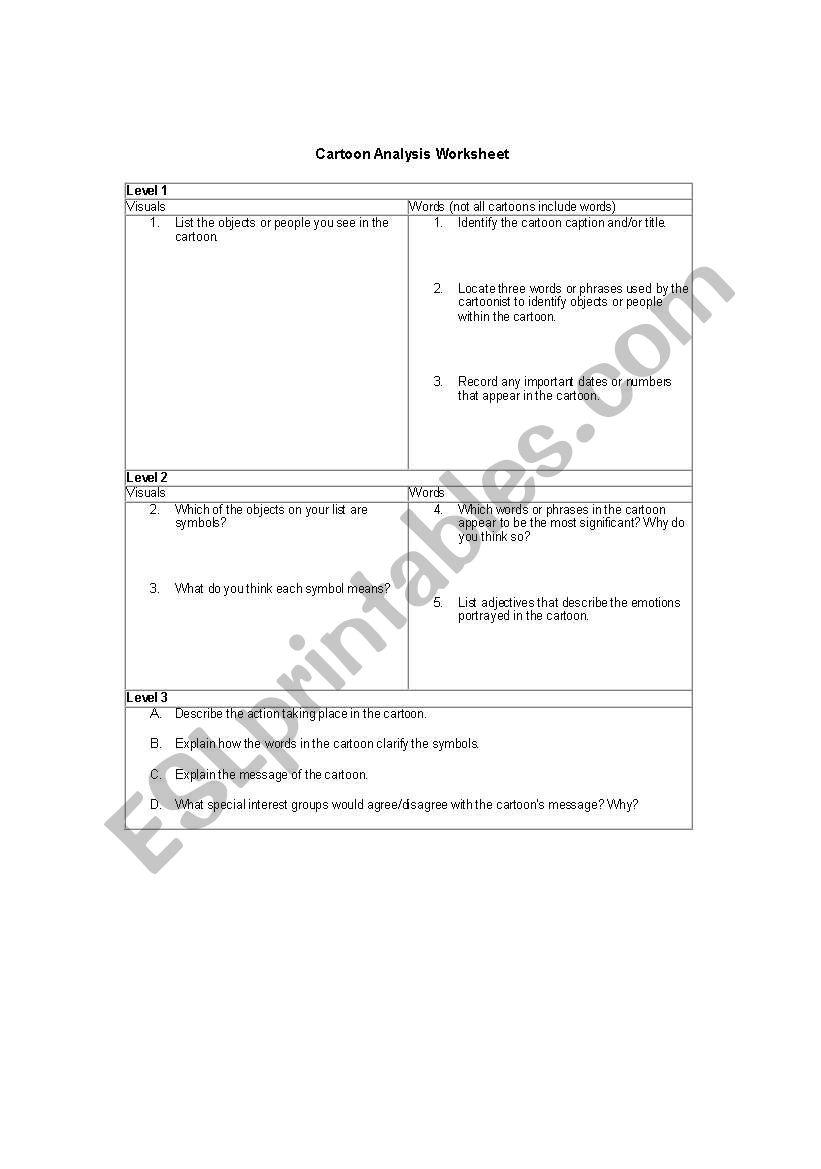 English Worksheets Political Cartoon Analysis Worksheet
