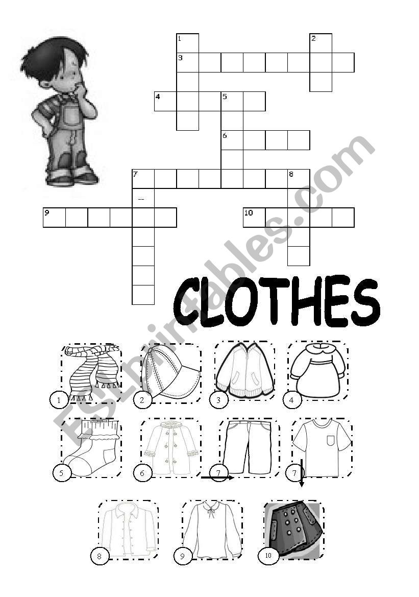 Crosswords on Clothes worksheet