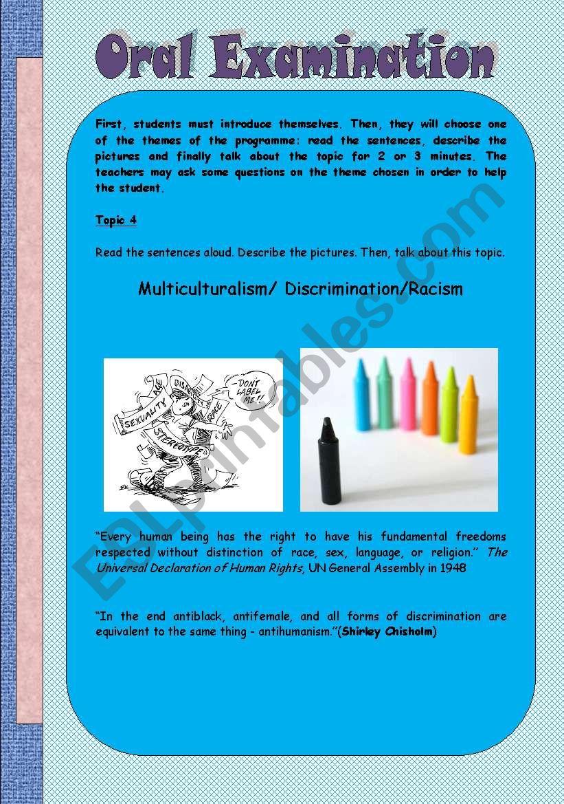 Oral examnation- 4 worksheet