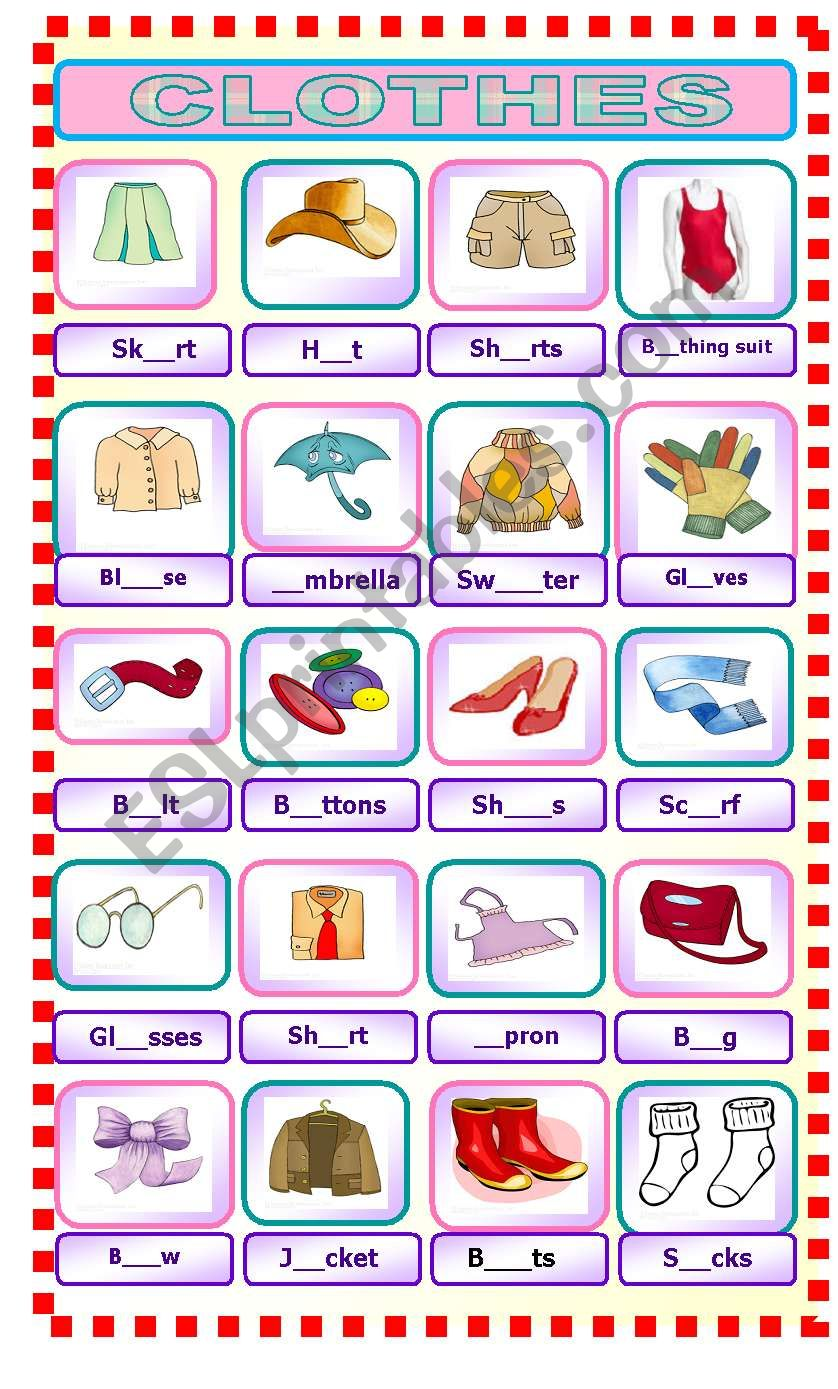 Pictionary clothes worksheet