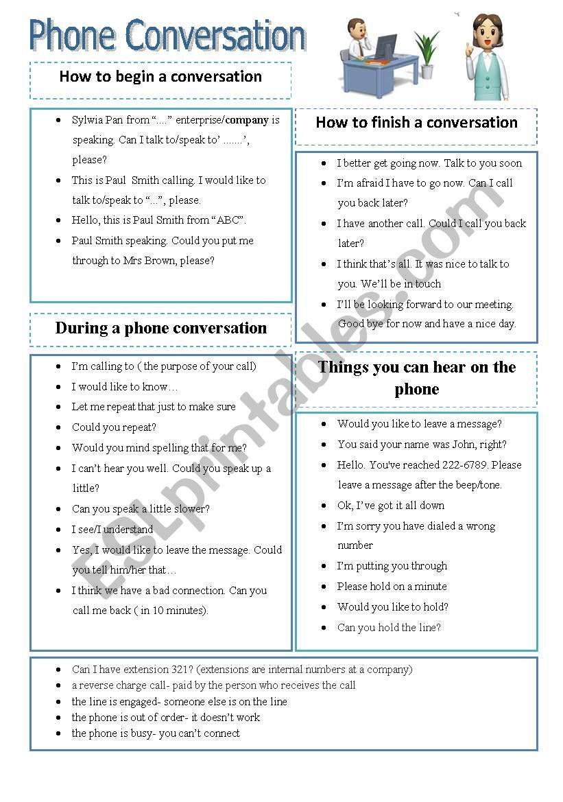 Phone conversation vocabulary worksheet