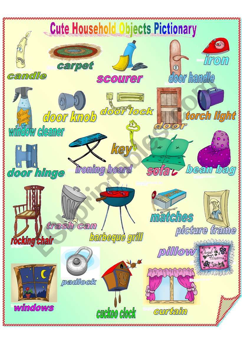 Cute Household Objects Pictionary **fully editable