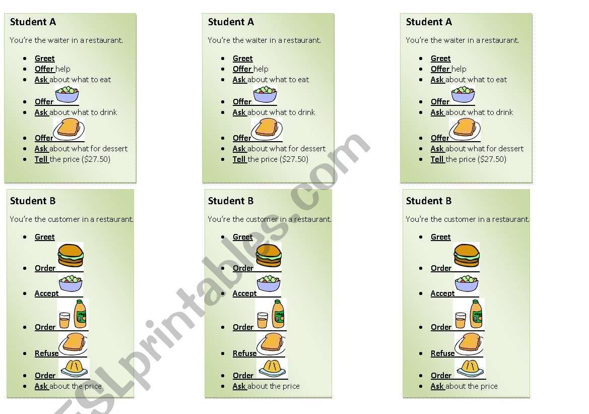 ORdering food - Editable worksheet