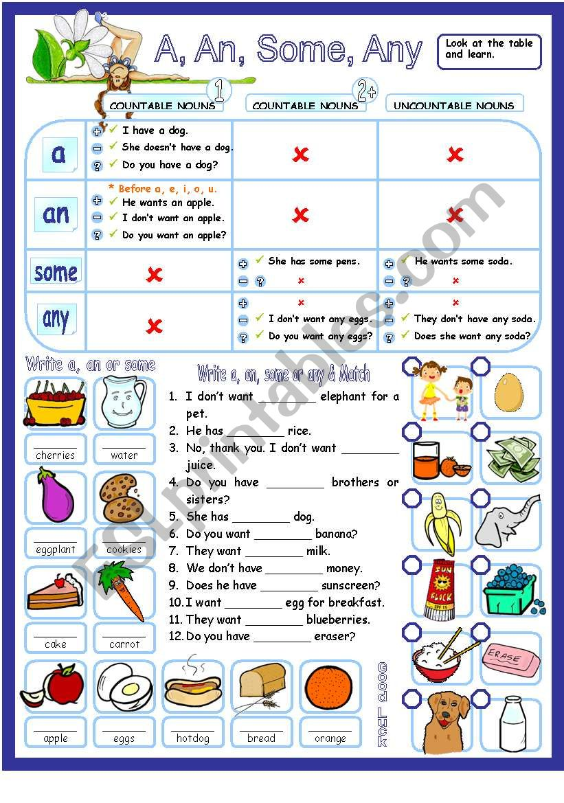 A, an, some & any with countable & uncountable nouns - guide & exercises.