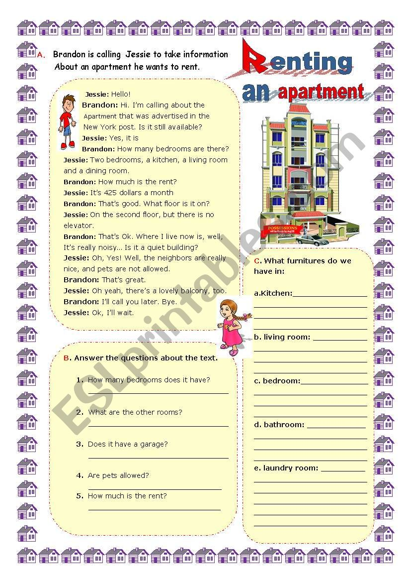 Renting an apartment worksheet