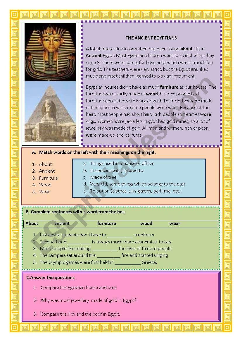 antient egyptians worksheet