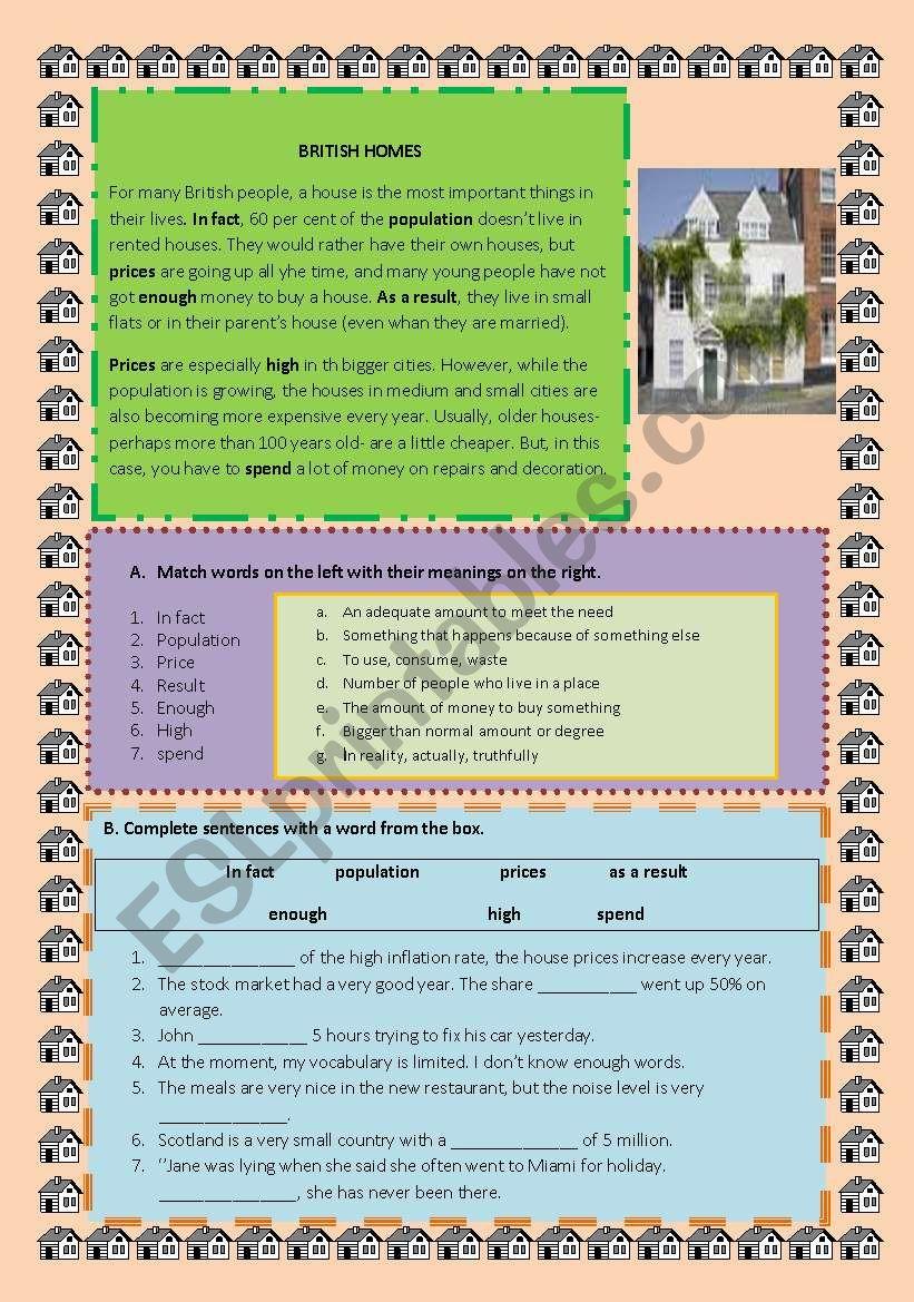 british homes worksheet