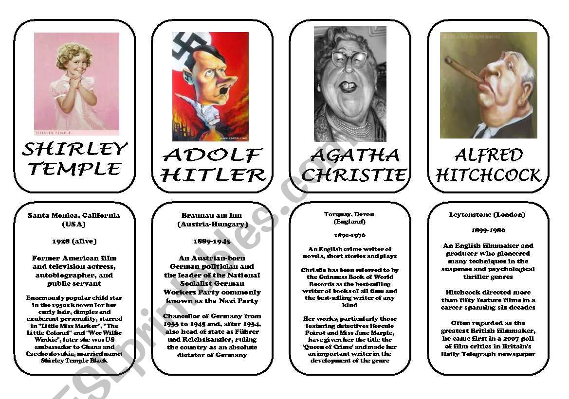 Famous people speaking cards (was,were) part 4