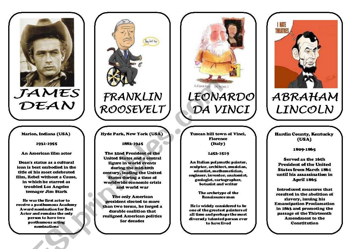 Famous people speaking cards (was,were) part 5