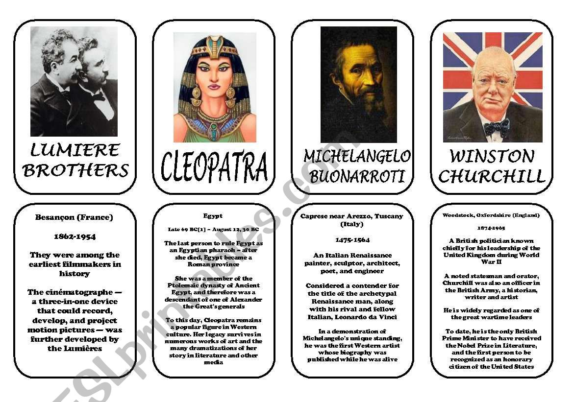Famous people speaking cards (was,were) part 6