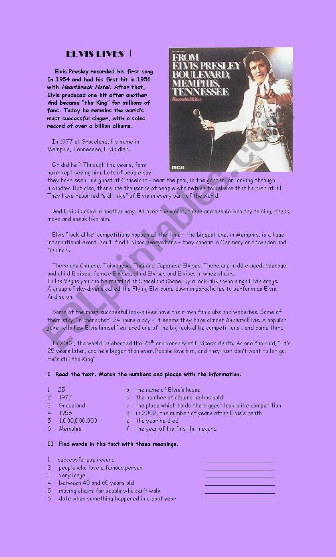 Elvis lives ! worksheet