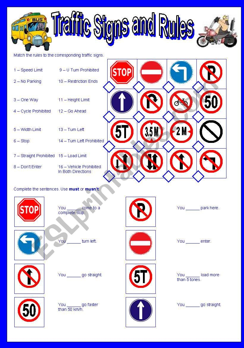 Traffic Signs and Rules-Must and Mustn´t
