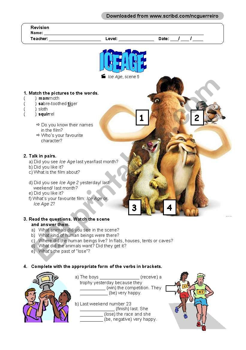 ice age - ESL worksheet by ncguerreiro