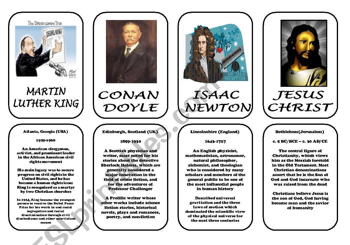 Famous people speaking cards (was,were) part 7