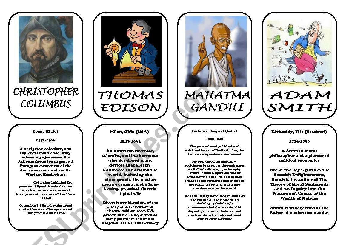 Famous people speaking cards (was,were) part 8