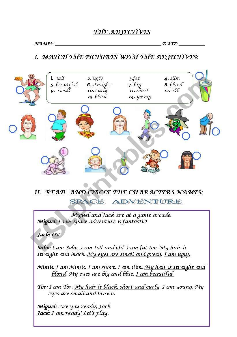 tHE aDjEcTiVes worksheet