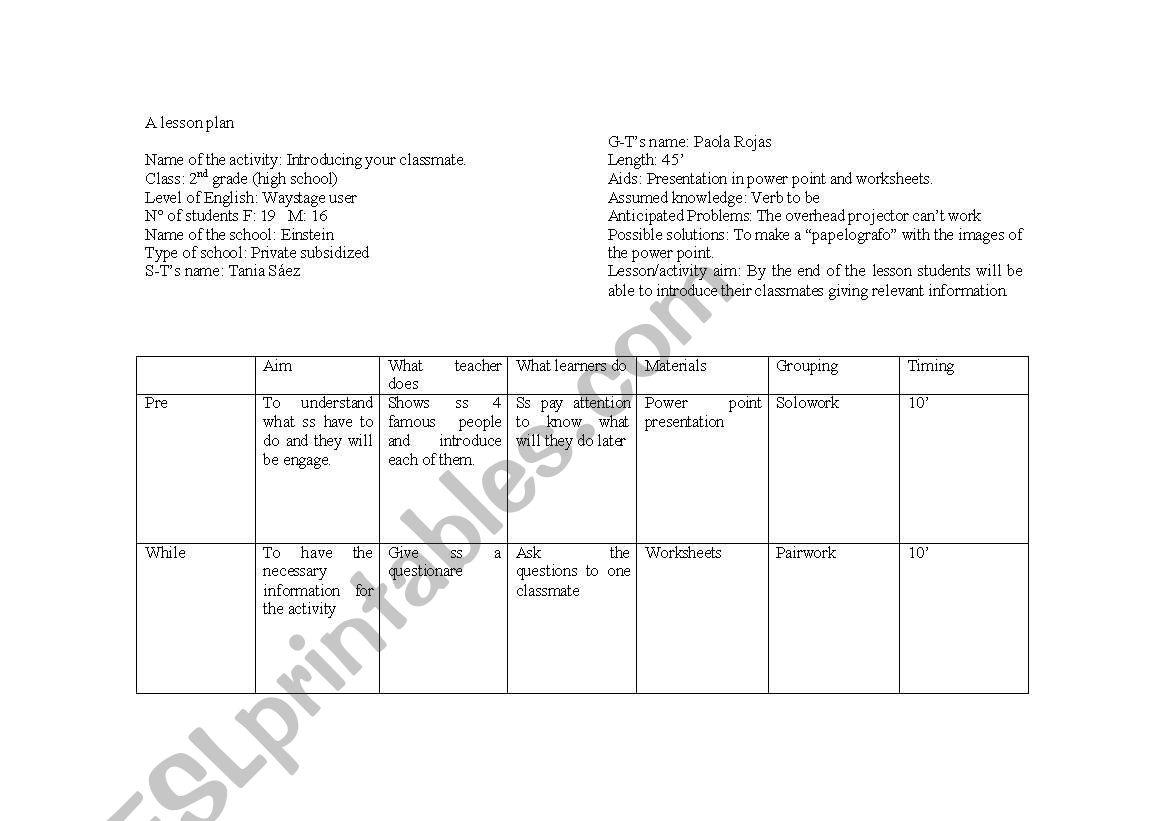 speaking lesson plan - ESL worksheet by taniasaez