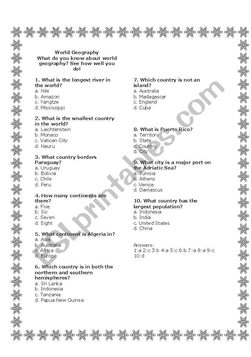 world geography quiz esl worksheet by vaferrer. Black Bedroom Furniture Sets. Home Design Ideas