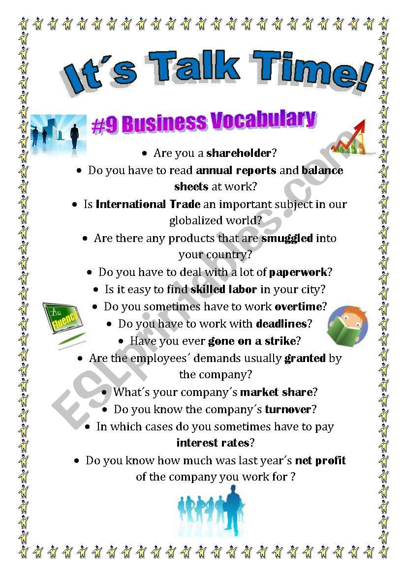 Talk Time #9 - Business Terms worksheet