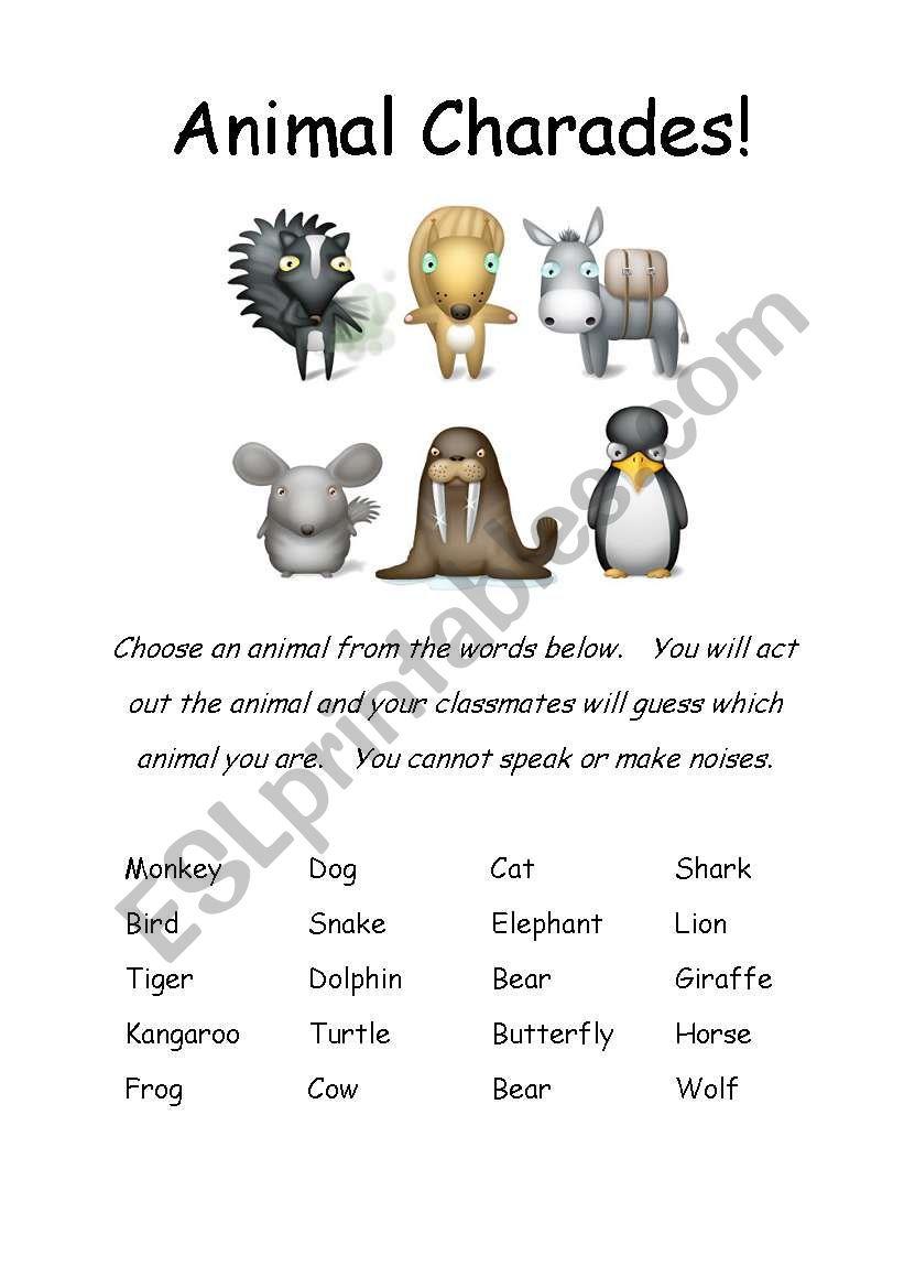 animals charade worksheet