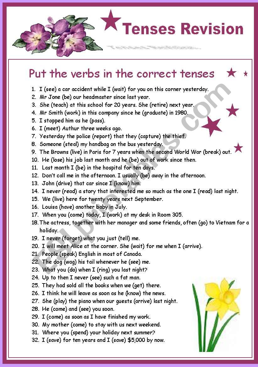Tenses Revision - Part 1 worksheet