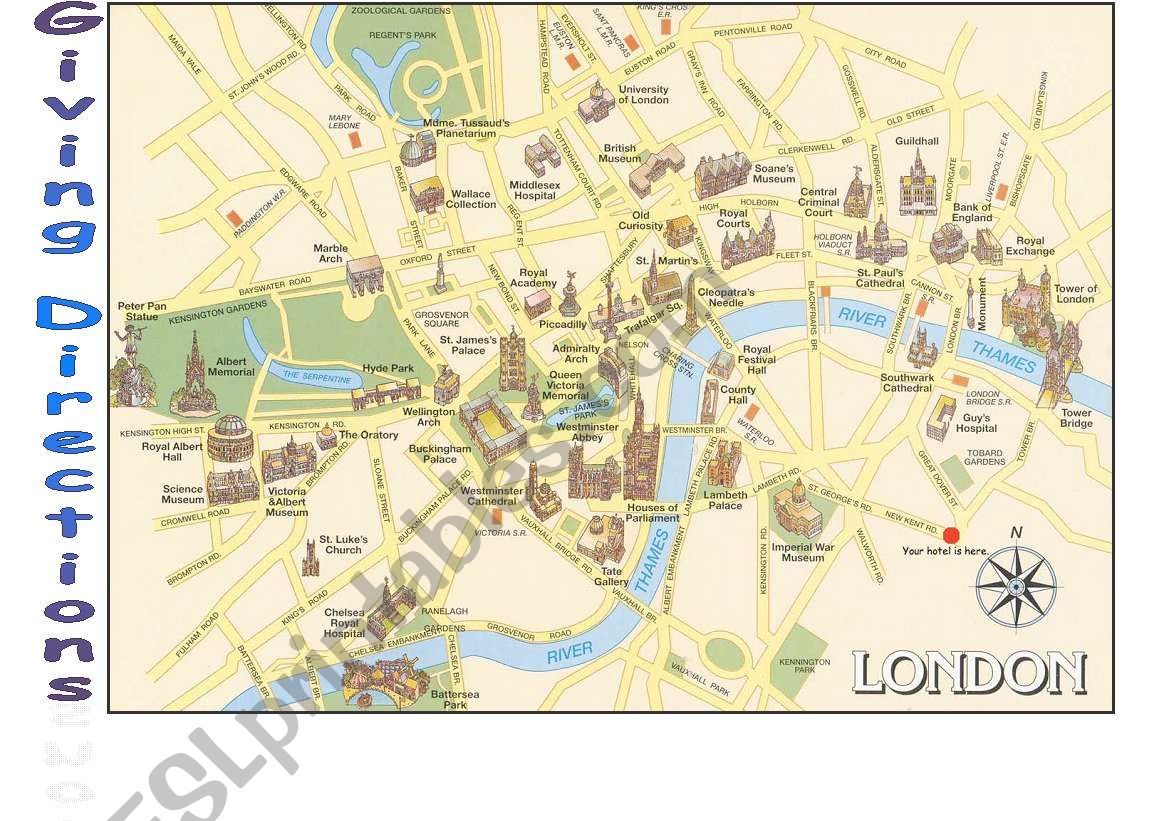 London Map Directions.Asking For And Giving Directions London Esl Worksheet By Nessita77