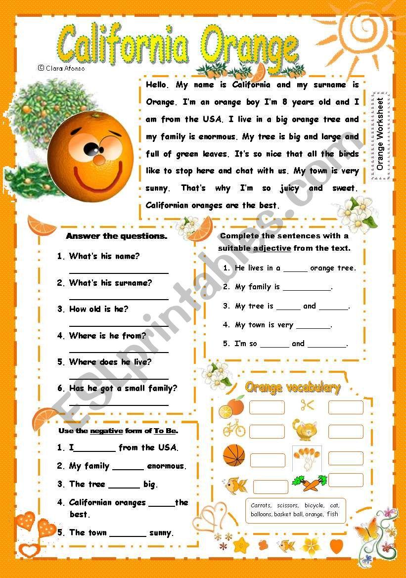 California Orange worksheet