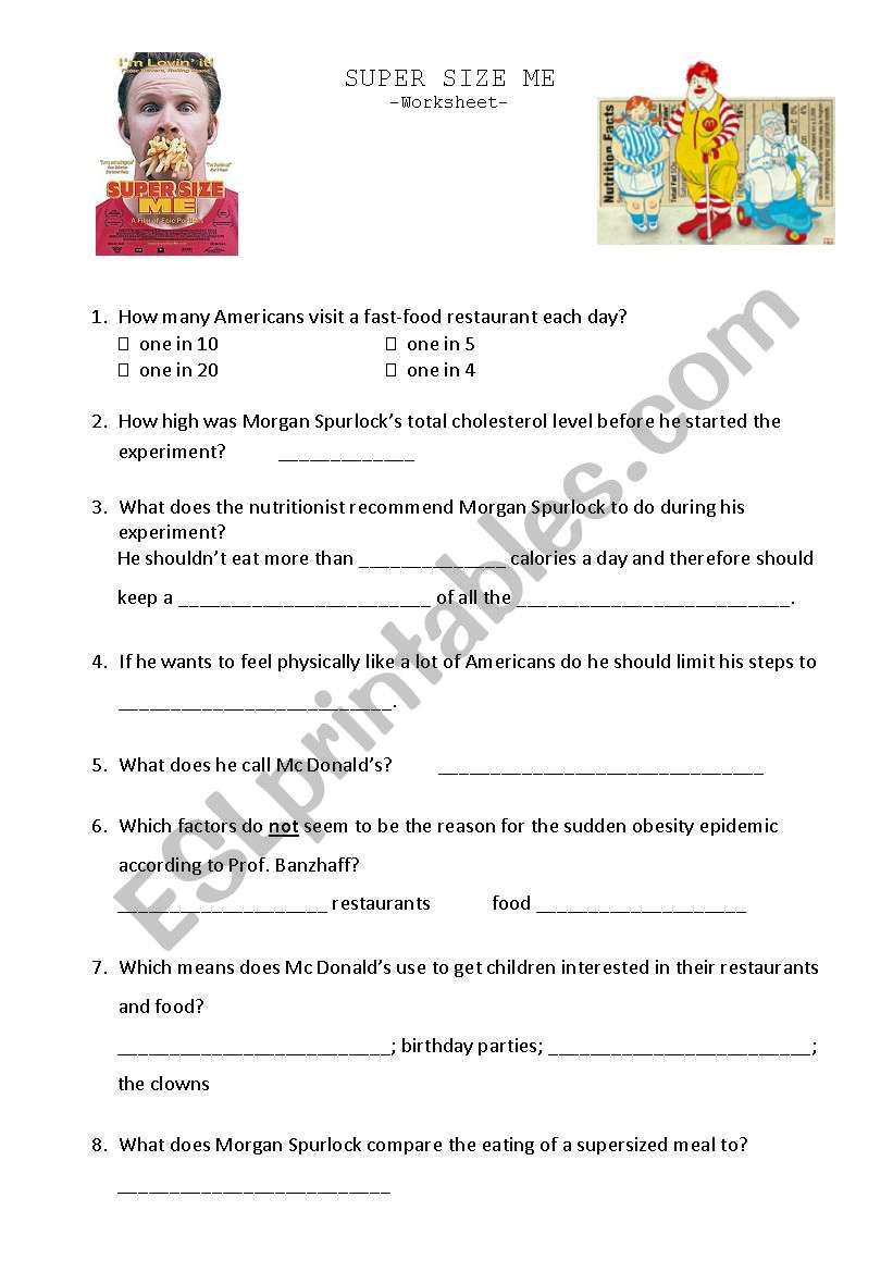 Worksheets Supersize Me Worksheet Answers super size me esl worksheet by gegensusi worksheet