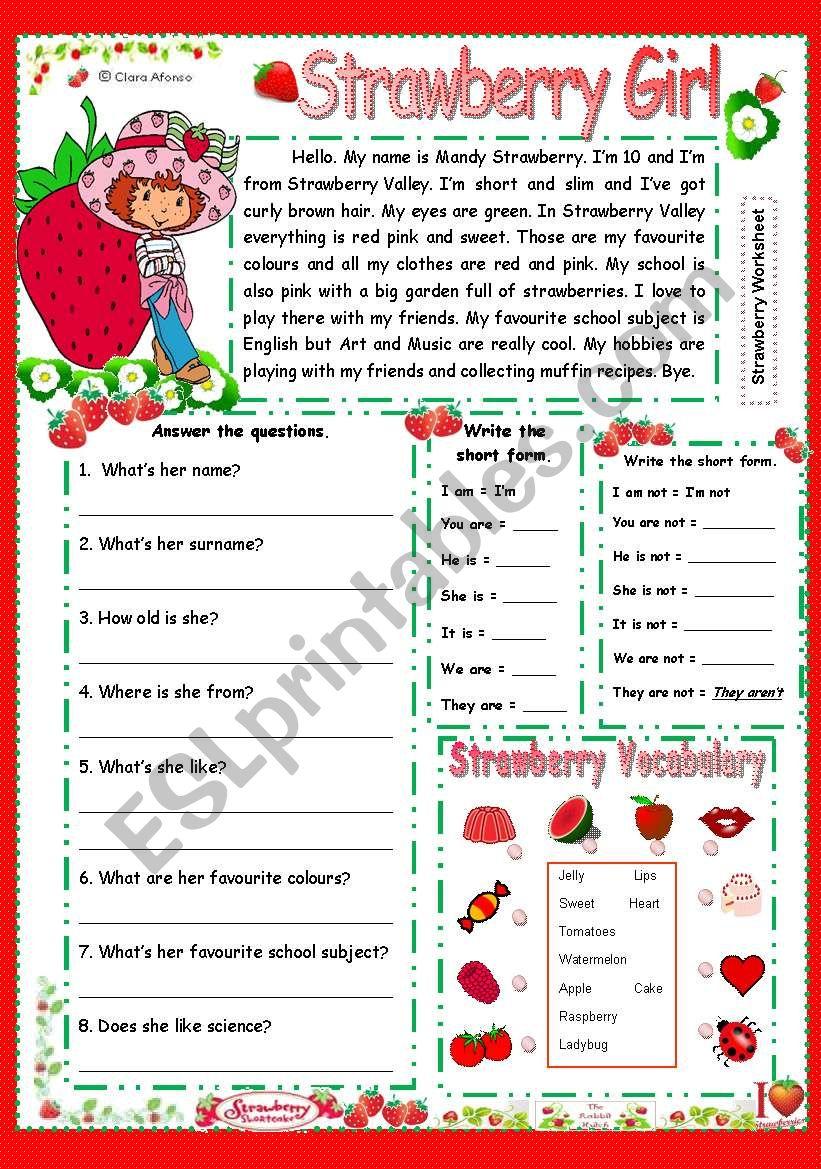 Strawberry girl worksheet