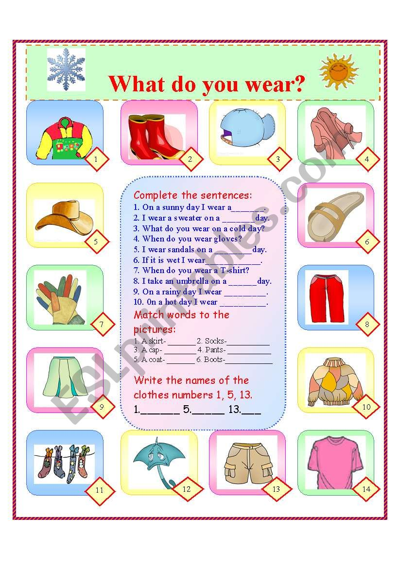 What do you wear? worksheet