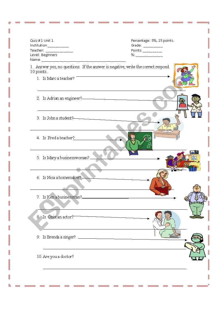 English worksheets: Quiz for beginners