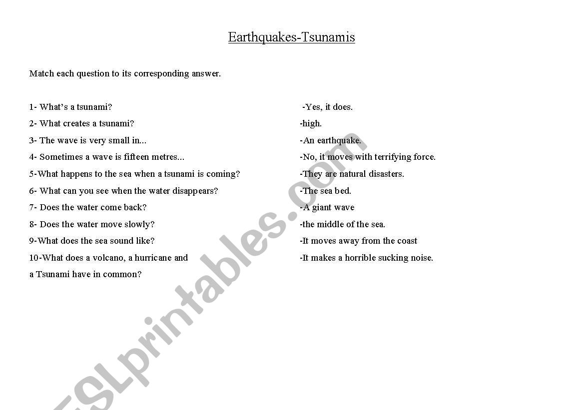 Earthquakes and Tsunamis worksheet