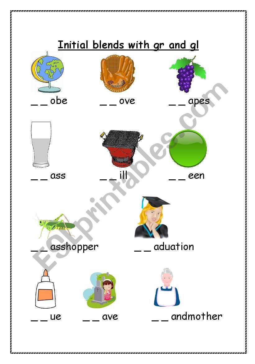 7 letter words beginning with g worksheets initial sound blends with quot gr quot and quot gl quot 25108 | 428218 1 Initial sound blends with gr and gl