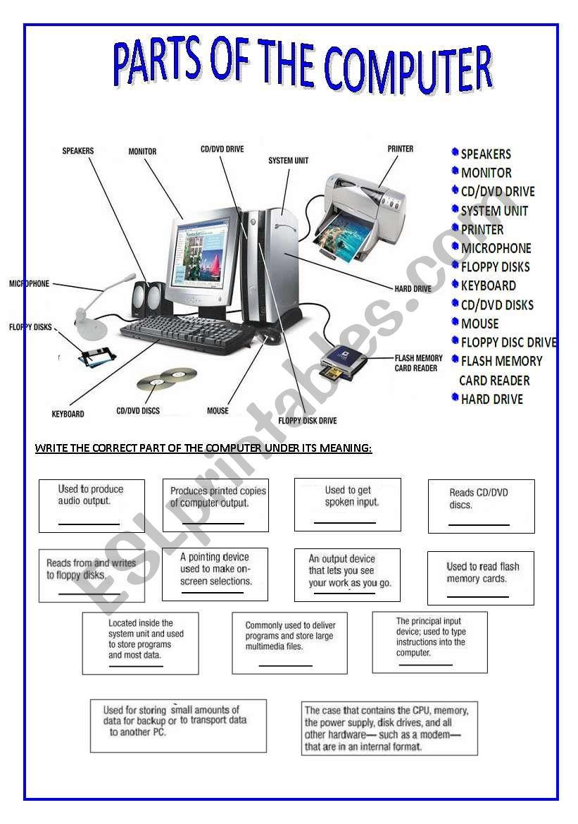 Worksheets Parts Of A Computer Worksheet english worksheets parts of the computer worksheet