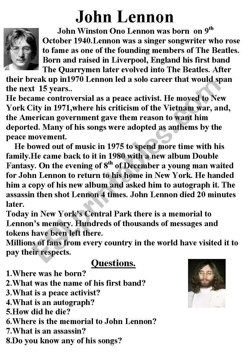John Lennon worksheet